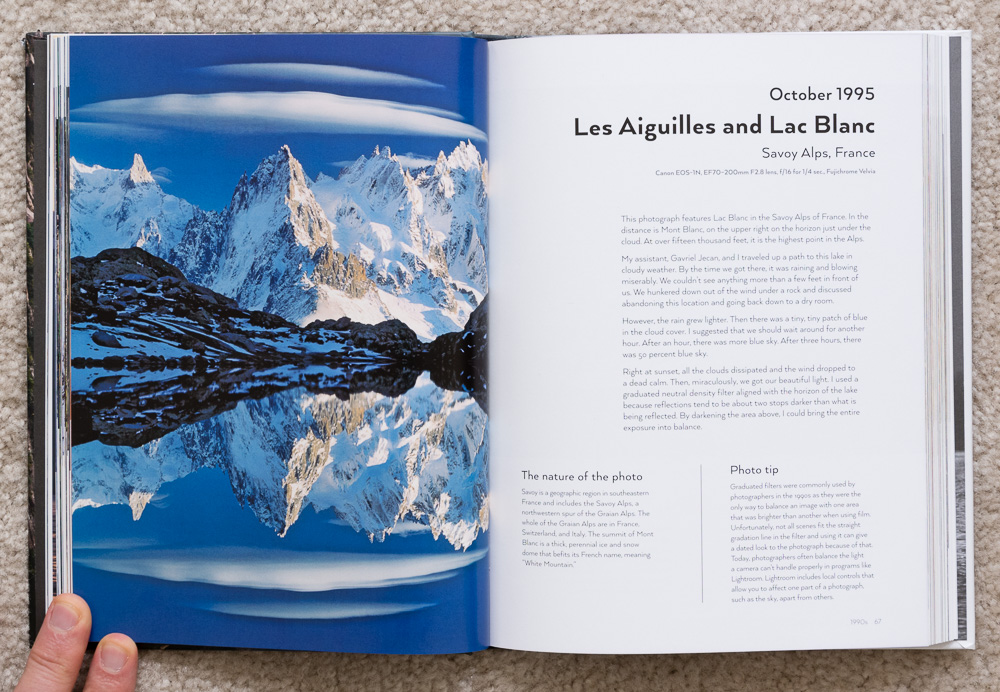 Photographs from the Edge  by Art Wolfe, pages 66-67, October 1995, Les Aiguilles and Lac Blanc, Savoy Alps, France.