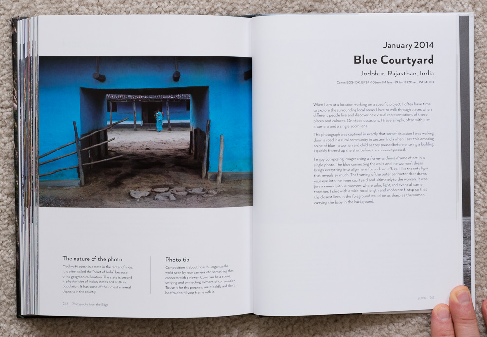 Photographs from the Edge  by Art Wolfe, pages 246-247, January 2014, Blue Courtyard, Jodphur, Rajasthan, India.