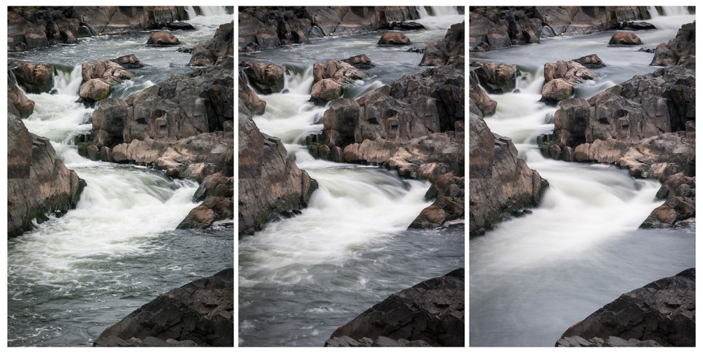 In this triptych I used a Singh-Ray Vari-N-Duo filter, which combines a polarizing filter with a variable neutral density filter, to gradually slow the shutter speed down by increasing the amount of neutral density. All images are ISO 200 with an aperture of f/25. The left image has a shutter speed of 1/8 second. The center image has a shutter speed of 4/5 second. The right image has a shutter speed of 8 seconds.