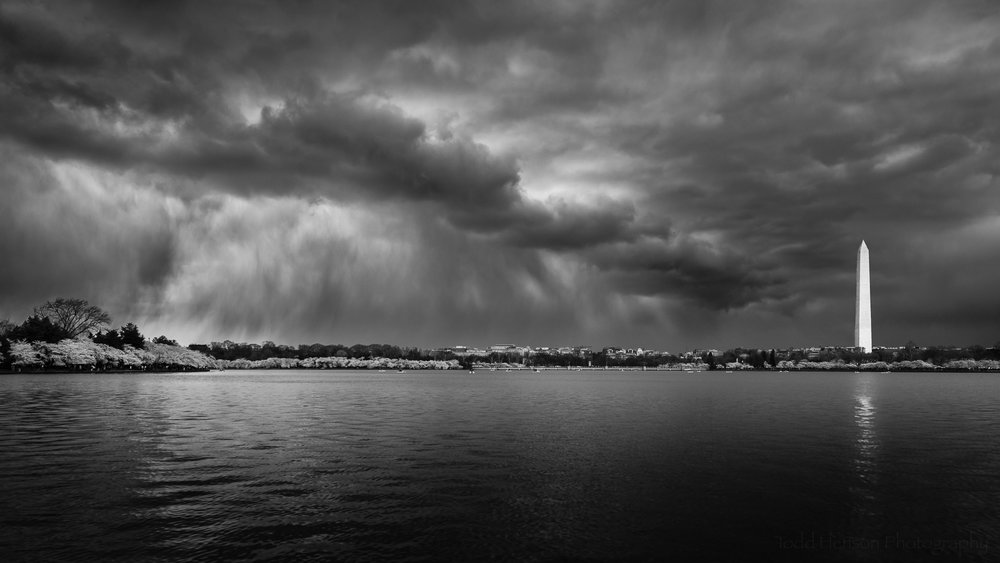 Storm over the Washington Monument and Tidal Basin in Black & White