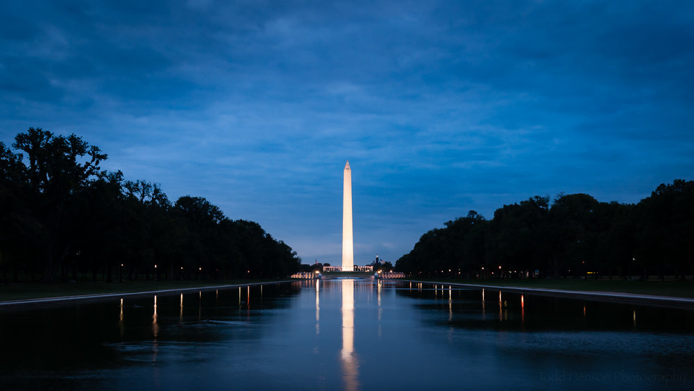 Another view of the lit Washington Monument and Reflecting Pool during the blue hour. This photo was created a few minutes after the one at the top of the post, notice the sky has lightened a bit.