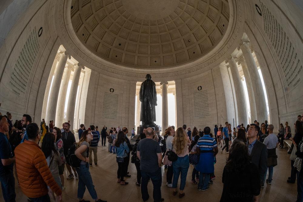 Cherry Blossom Crowds inside the Jefferson Memorial