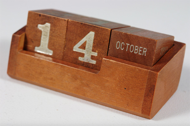 My father used to have this perpetual calendar above his writing desk, so maybe there is a symbolism in this image for me. I found it and had to use it. Photo by H is for Home.