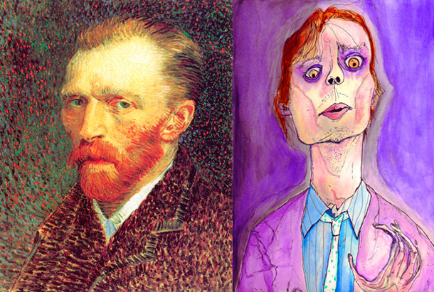 Self portraits of Vincent van Gogh and Matthew Gubler