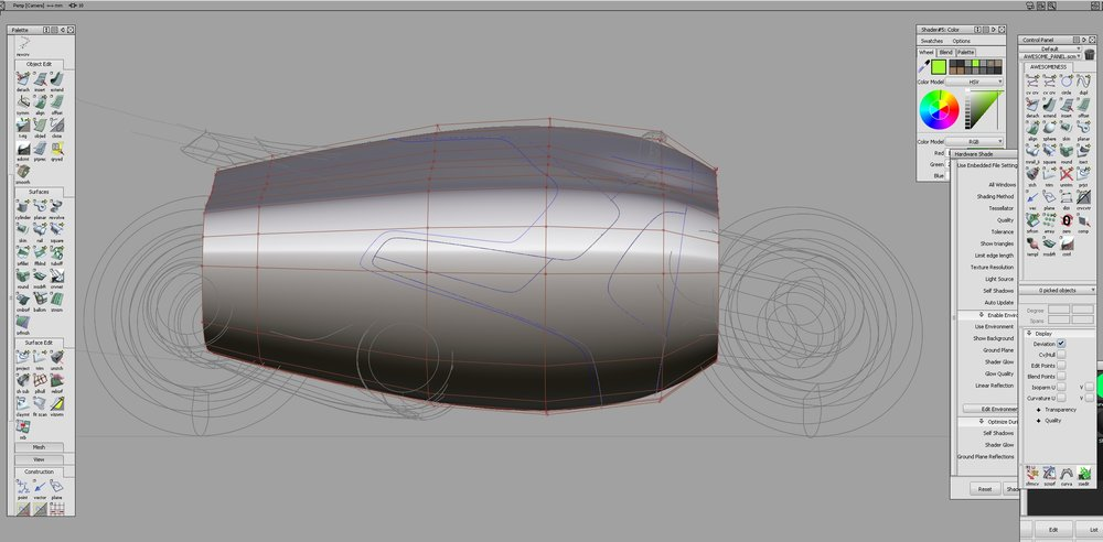 The Untrimmed Base Surface with CV's un-hidden.