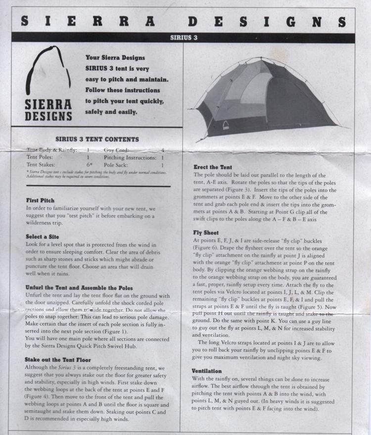 Instructions For Sierra Designs Sirius 3 Thornton Hall Design