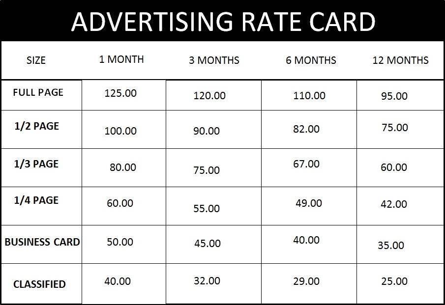 Rate Cards For Magazines Magazine Advertising Rate
