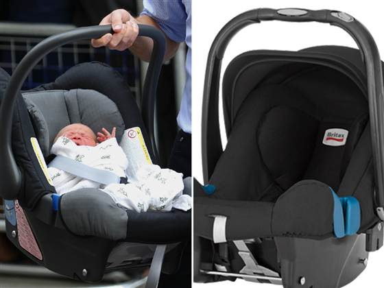 Prince William and Duchess Kate's newborn baby boy is seen in a Britax baby car seat outside the Lindo Wing of St. Mary's Hospital in London on July 23, 2013.