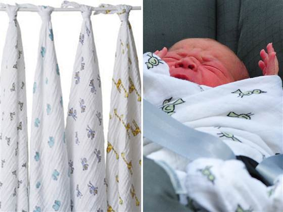 "The new prince, born on Monday, was wrapped in the ""jungle jam"" swaddle blanket from Brooklyn-based."