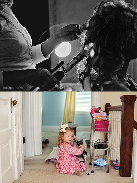 """Curling Iron     Photo by: Loft3 Photography  Ben describes Olivia as being very photogenic and says she knows what to do when the camera comes out. Here, Olivia found her mother's curling iron in the hallway and """"styled"""" her hair."""