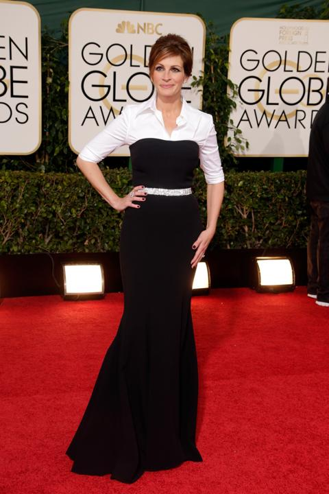Photo by: Getty Images    Worst: Julia Roberts   The black strapless portion of the Dolce & Gabbana getup is fine, albeit a bit boring. Add the tight button-down shirt and she becomes a waitress at Olive Garden.