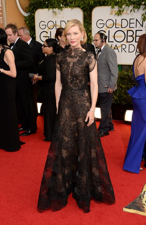 """Photo by: Getty Images    Best: Cate Blanchett  As per usual, the """"Blue Jasmine"""" best actress winner was pure perfection in this sheer Armani gown, which was perhaps even better from the back thanks to a bum-grazing plunge."""