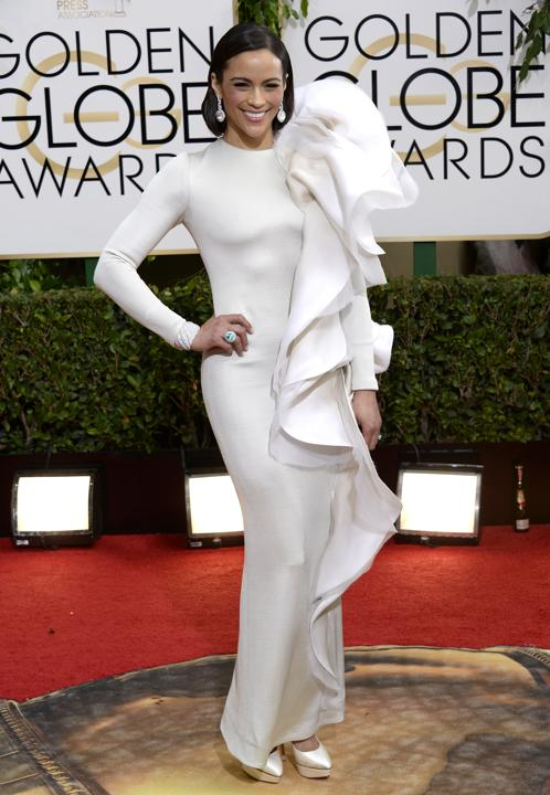 Photo by: Getty Images    Worst: Paula Patton and her unexpected +1  Designer Stéphane Rolland must have had some extra fabric, but glueing it to Paula's shoulder was not the answer.