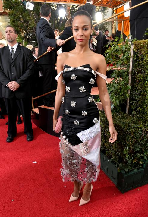 Photo by: Getty Images    Worst: Zoe Saldana  The fashion risk-taker made a misstep in this Prabal Gurung gown. The patchwork fabric was already overkill, but the chest ornamentation looked like Christmas bows.