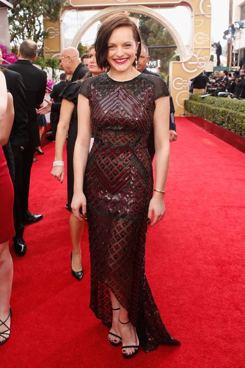 """Photo by: Getty Images    Best: Elisabeth Moss  The """"Top of the Lake"""" award-winning actress stunned in an edgy, sequin, black and oxblood J. Mendel dress."""