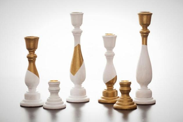 White and Gold Candleholders: