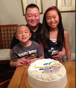 Robb Fujioka, president and founder of Fuhu, and his children