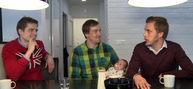 The founders of Finnish Baby Box Anton Danielsen, Heikki Tiittanen and Anssi Okkonen (L-R) talk in this still image taken from video in Espoo April 29, 2015. REUTERS/ATTILA CSER