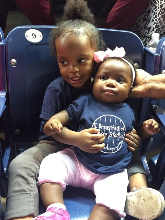 "Breastfed babies and toddlers got shirts that said ""I Breastfed at Yankee Stadium"" to celebrate the event. Image: Bronx Breastfeeding Coalition"