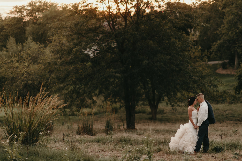 first-look-outdoor-photos-princess-dress-iowa-wedding