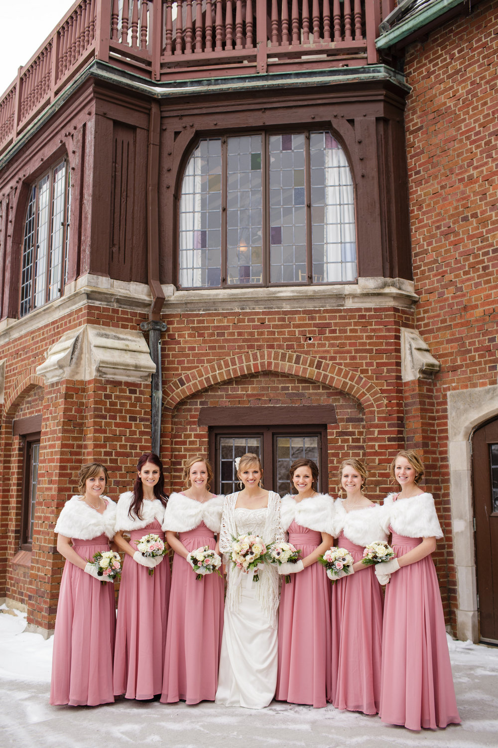 iowa-venue-rollins-mansion-desmoines-iowa-winter-wedding-pink- fur-bridesmaid-dress