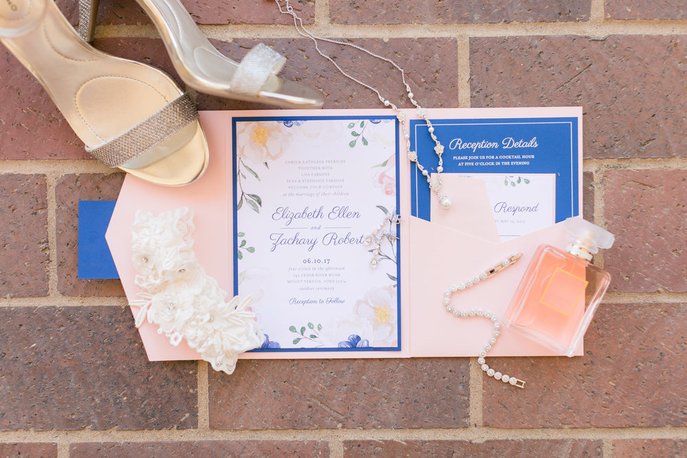 invite-suite-pink-blue-iowa-wedding-beaded-dress-cedar-rapids-backyard-wedding-getting-ready-planned-by-mostly-becky-weddings-bridal-portraits-downtown