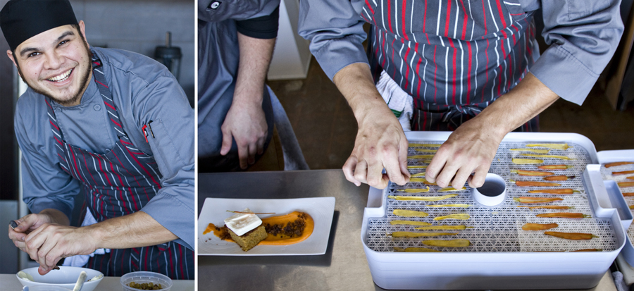 "the owner, Ian Smith, creates ""glass"" using thinly sliced carrots and dehydrating them."
