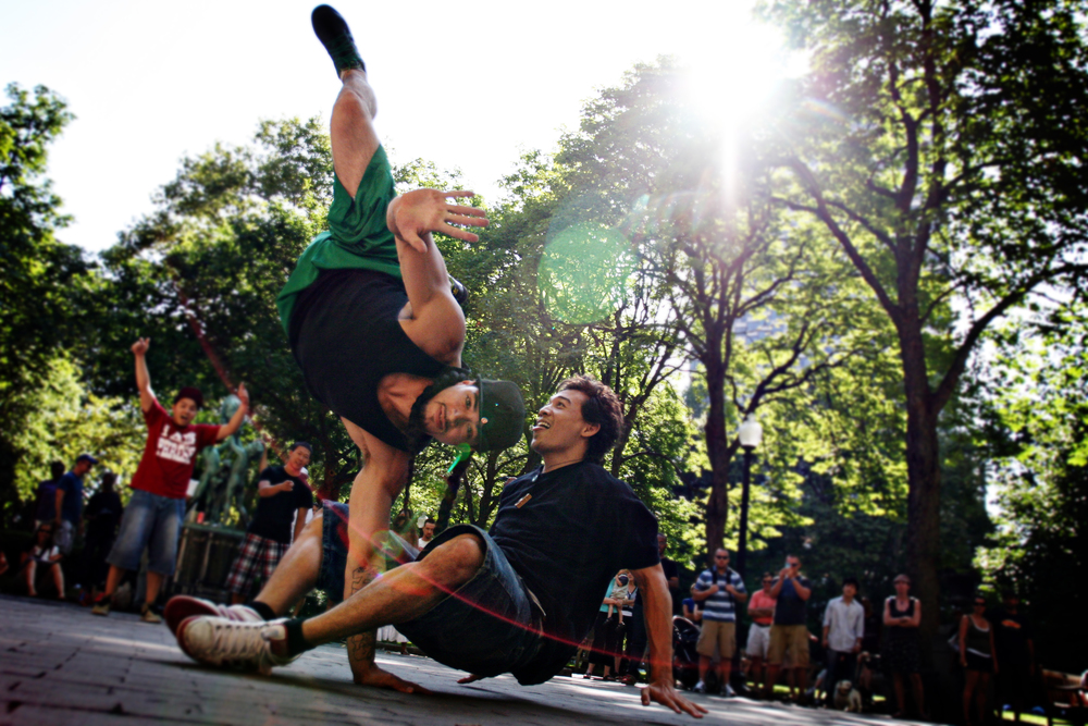 break dancers at rittenhouse square, philadelphia, pa