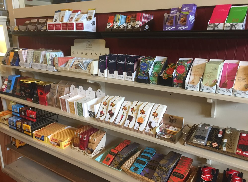 Large selection of imported and domestic chocolate bars