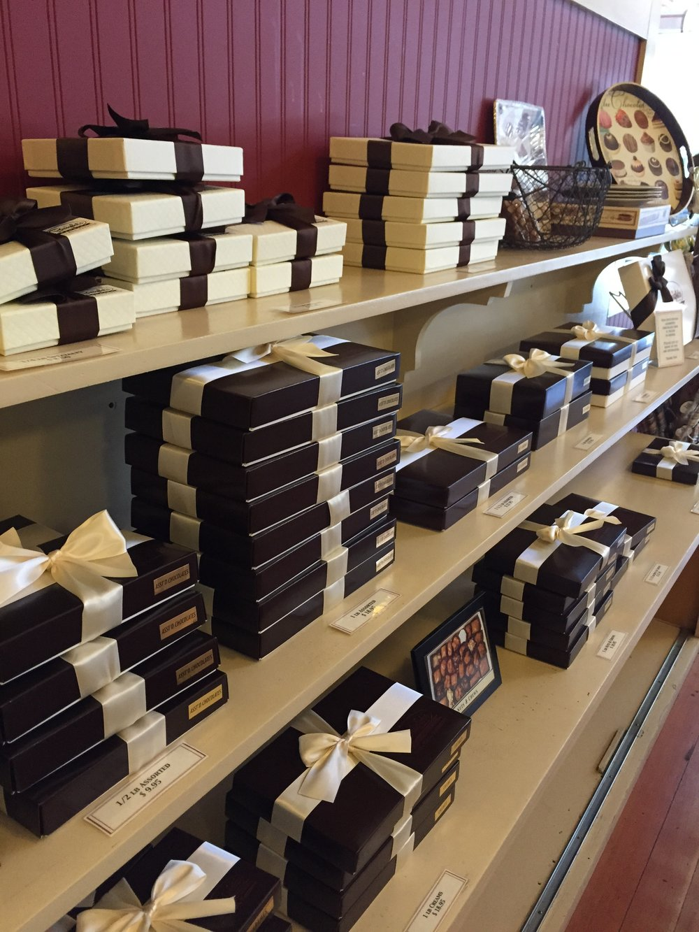 Our boxed chocolates on the shelf and ready to go!