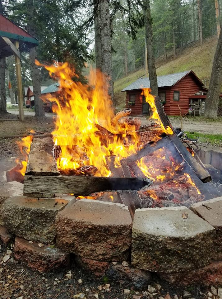 A roaring fire is a nice way to end the night.  Relax under the stars while the kids play on our playground or sit around and roast marshmallows.