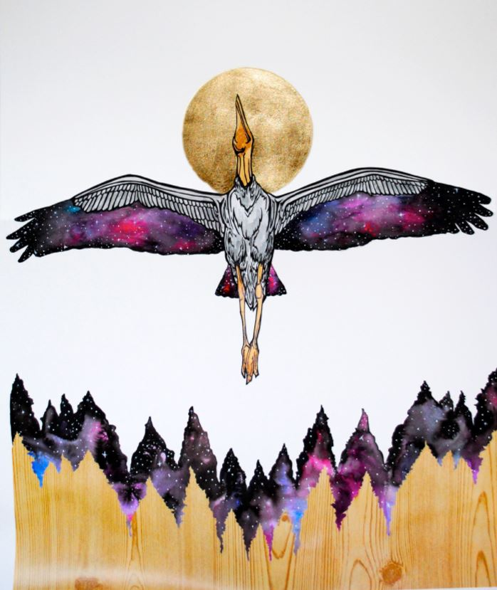 "Image: The Stargazer, 2014, Ink, gouache, plastic, and gold leaf on paper. 24"" x 20"""