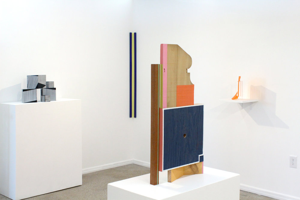(left) Emma Langridge,  Medium Cubes 1, 2 and 3  and  Small Cubes 1 and 2 , 2016-17; Patricia Zarate,  On Slender Stems (blue-violet) , 2017; Jim Osman,  Téte , 2017; Bogumila Strojna,  Space Generator , 2017