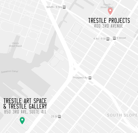 A map of our two locations: (pink marker) Trestle Projects in Gowanus at 400 3rd Avenue; (green marker) Trestle Art Space & Trestle Gallery in Sunset Park at 850 3rd Avenue