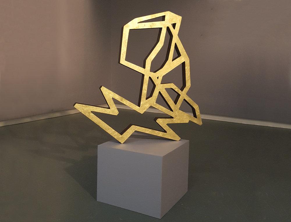 Samantha Holmes  Icon II,  2017 Gold leaf on wood, 32 x 30.5 x 2.25 in