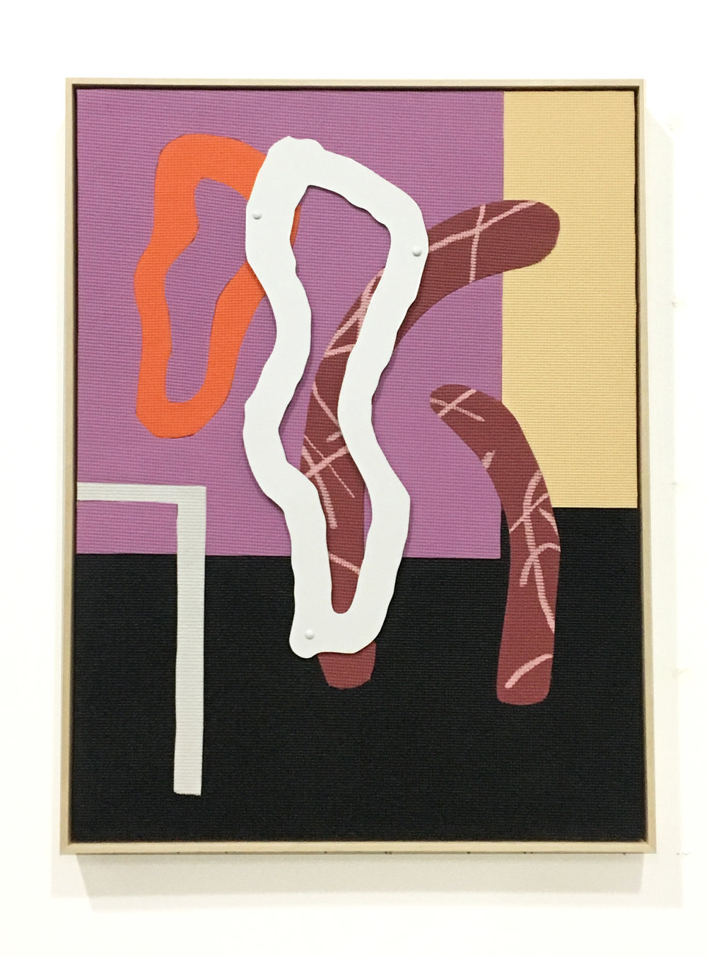 Alex Ebstein,  Court Sports,  201, Hand-Cut PVC Yoga Mats, Acrylic, Powder Coated Aluminum and Hardware on Wood Panel, 40 x 30 inches