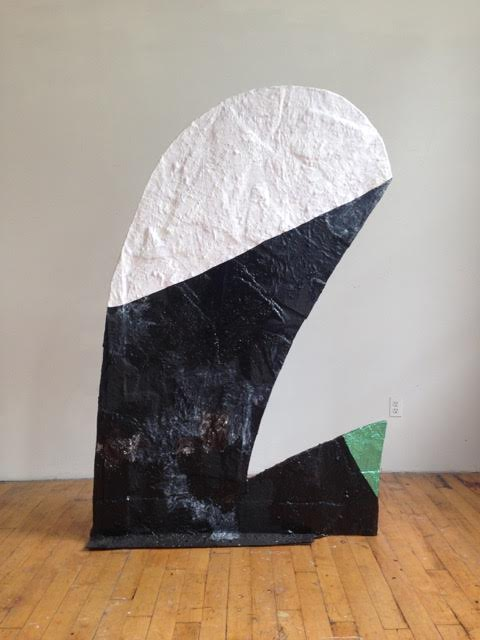 "Fabienne Lasserre  Untitled Black and White , 2016 Linen, acrylic polymer, enamel paint, acrylic paint, acrylic stucco, and steel 75"" x 48.5"" x 10.25"""