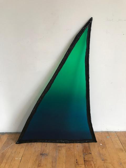 """Fabienne Lasserre  Untitled Green , 2017 Linen, acrylic polymer, enamel paint, acrylic paint, steel, and vinyl 49"""" x 34"""" x 5"""""""
