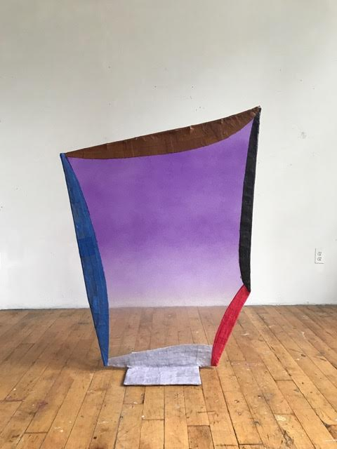 "Fabienne Lasserre  Untitled Purple , 2017 Linen, acrylic polymer, acrylic paint, steel, and vinyl Base 13.5"" x 13.5""; 50"" x 40"" x .5"""