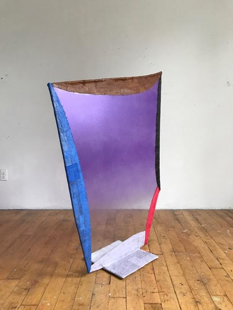 "Fabienne Lasserre  Untitled Purple  (detail), 2017 Linen, acrylic polymer, acrylic paint, steel, and vinyl Base 13.5"" x 13.5""; 50"" x 40"" x .5"""