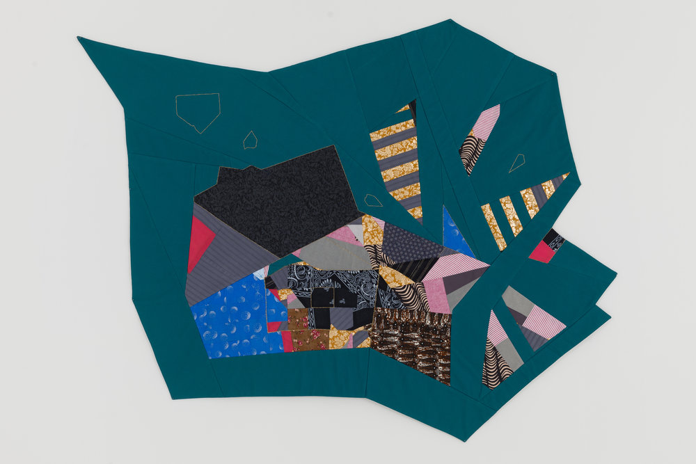 "Adia Millett  Untitled (Polygon) , 2014 Fabric, thread, textiles 45"" x 56"""