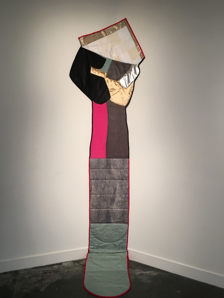 "Adia Millett  Power House , 2016 Fabric, thread, textiles 215"" x 42"""