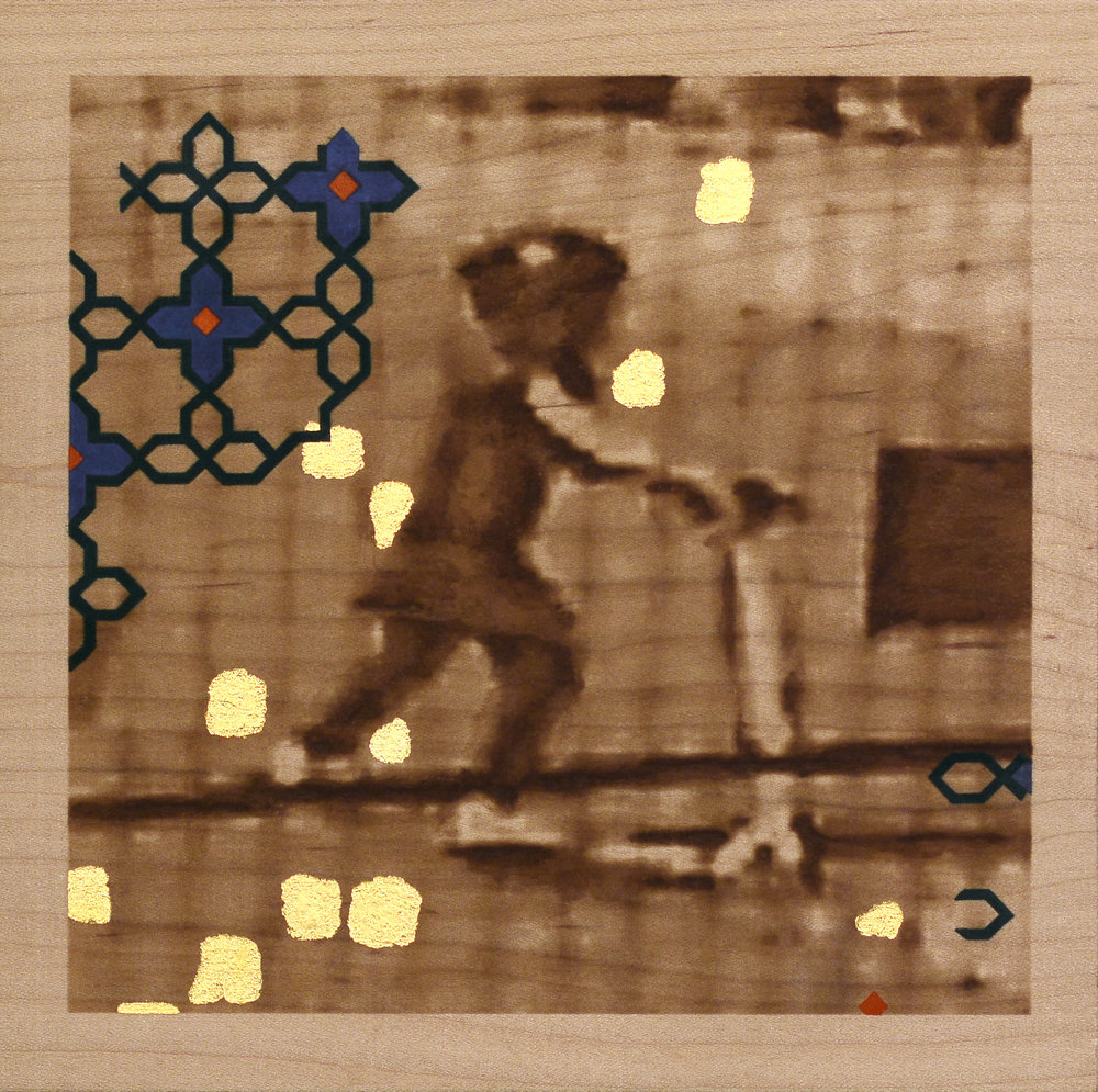 "Ashley Hope, ""Crossing IV:  07:30:2004  8:43:26"", 2018, gouache, acrylic, and gold leaf on laser-etched maple, 11.25"" x 16"""