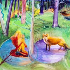 "Elizabeth Insogna, ""Fox Spirit Immolation"", 2015, ink and acrylic on paper, 50 x 50"""