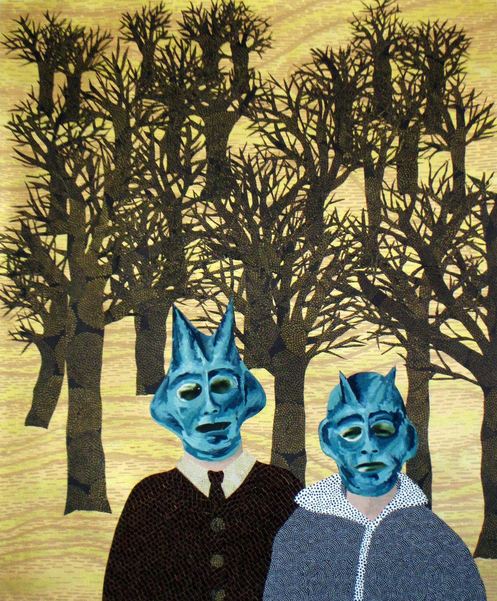"Anne Polashenski, ""Aliens in a New Land: Josef & Francziska Podleszański (Great Grandparents)"", 2015, C-prints, cut paper collage & gouache on paper, 23 x 19"""