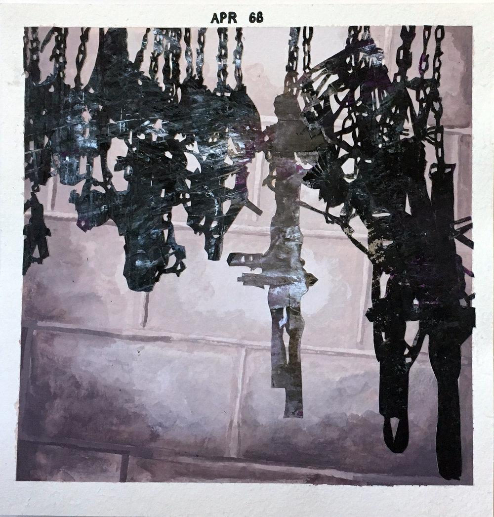 """Anne Polashenski, """"Polashenski Hunting Paraphernalia: Some of our Traps"""", 2016, mixed media collage & gouache on paper, 11.25 x 11"""""""