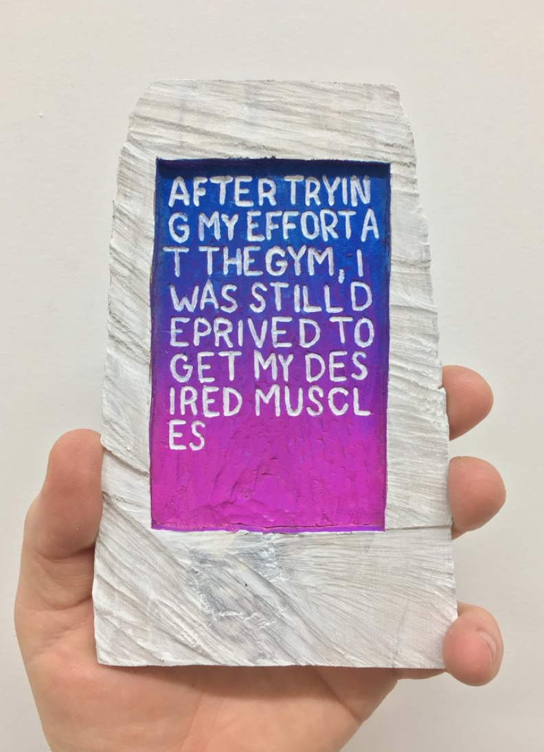 Brent Owens, Desired Muscles, 2018, acrylic paint on hand-carved wood
