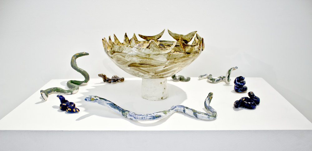 "Image, above: Elizabeth Insogna, ""Pinwheel Cauldron with Snakes"", 2018, ceramic installation, glazed porcelain and stoneware, dimensions variable"