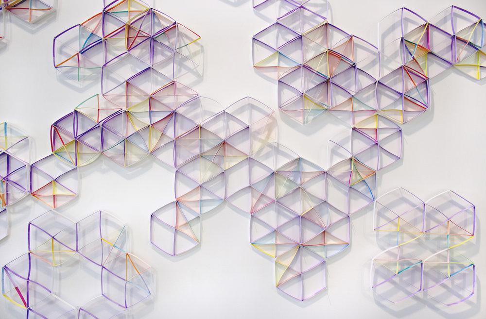Alex Paik,  Hexagon (Klint) , 2017, gouache, colored pencil, paper, nails, dimensions variable