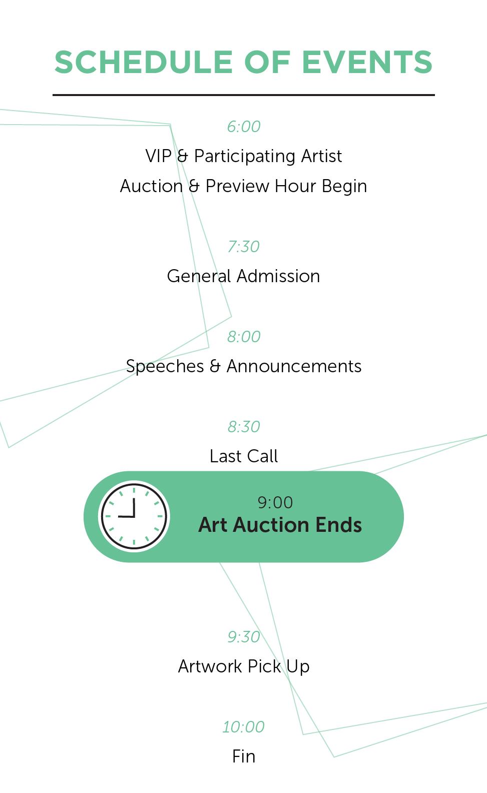 Schedule of Events Trestle Art Benefit